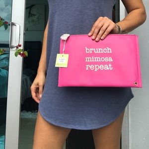 NWT Deux Lux Pink Clutch with Gold Graphic